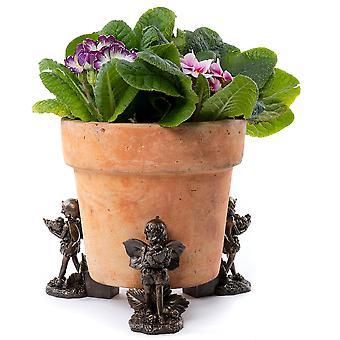 Potty Feet Flower Fairies Strawberry Fairy Plant Pot Feet Bronze Color 3pc