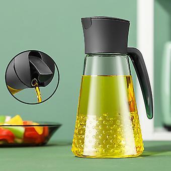 630ML Automatically Open Oil Bottle Oil Dispenser Vinegar Soy Sauce Container Glass Leakproof Bottle