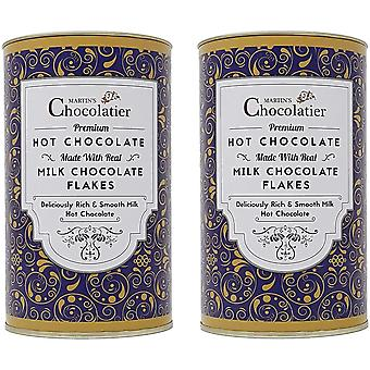 Martin's Chocolatier | 2 Pack | Milk Hot Chocolate Flakes Drinking Chocolate Made from Real Belgian Chocolate Flakes