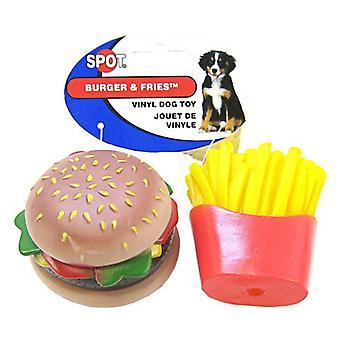 Spot Vinyl Hamburgare & Pommes frites Hundleksak - 2 Pack