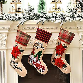 Mimigo 3pcs Bas de Noël, Motif de fleur rouge Brassard de Noël Garniture Rustique De Noël Stocks sur étagère Cheminée pour fête de vacances Home Decoratiom Cadeaux 4