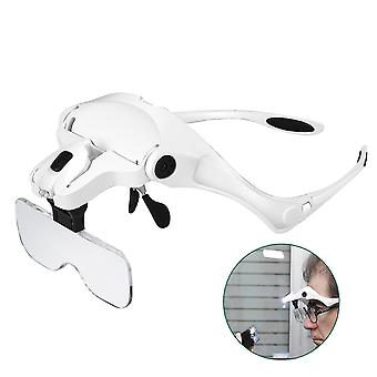 Hands Free Magnifying Glasses With 2 Led Lights 5 Interchangeable Lenses 1.0x To 3.5x