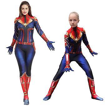 Captain Marvel Costume Halloween Superhero Lycra Spandex Bodysuit Pour Filles Femmes