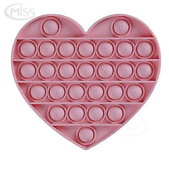 Mini Love Heart Push Pop Bubble Rainbow Silicone Fidget Toy Stress Reliever Pink
