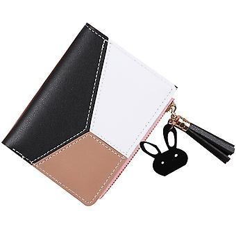Women Ladies Pu Leather Short Wallet Card Holder Zipper Purse Patchwork Handbag
