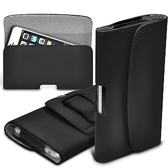 Huawei Honor 5X Horizontal Faux Leather Belt Holster Pouch Cover Case (Black)