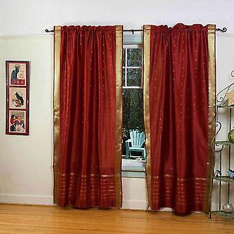 Tenda a bastone in Sari pura della ruggine / drappo / pannello - coppia
