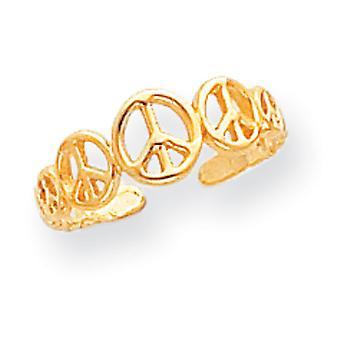 14 k Gelbgold poliert Frieden Zeichen Zehen Ring Schmuck Geschenke für Frauen - .9 Gramm