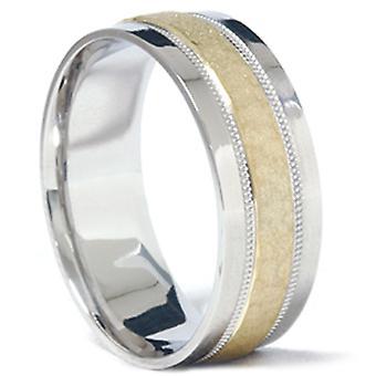 Мужская платины 950 & 18K золото чеканный Кольцо обручальное кольцо