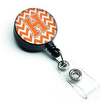 Letter H Chevron Orange and White Retractable Badge Reel