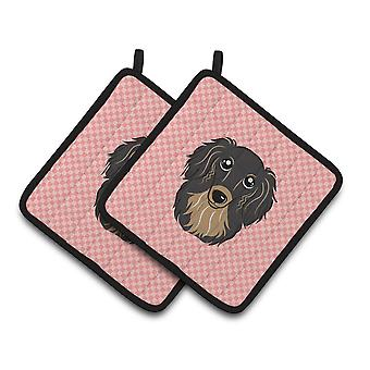 Checkerboard Pink Longhair Black and Tan Dachshund Pair of Pot Holders