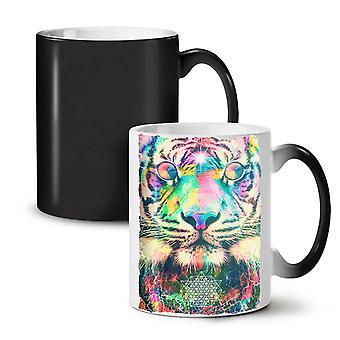 Psychedelic Tiger NEW Black Colour Changing Tea Coffee Ceramic Mug 11 oz | Wellcoda