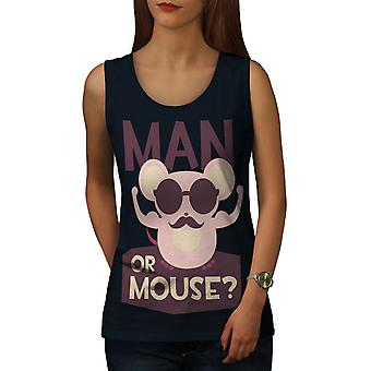 Man Or Mouse Gym Sport Women NavyTank Top | Wellcoda