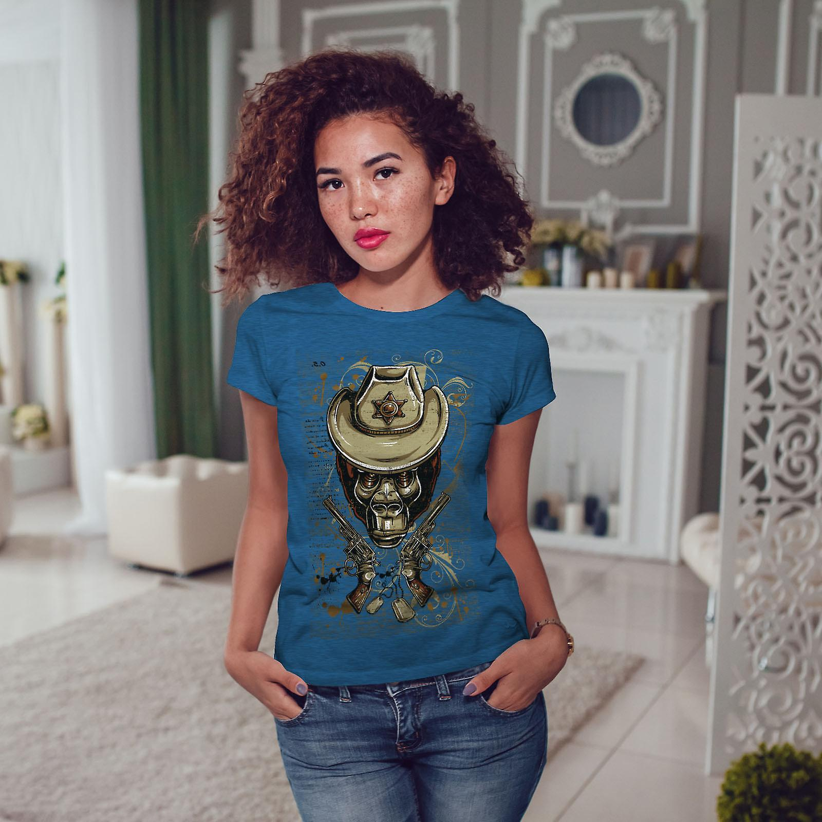 Shérif Monkey Animal BlueT-shirt Royal femme | Wellcoda