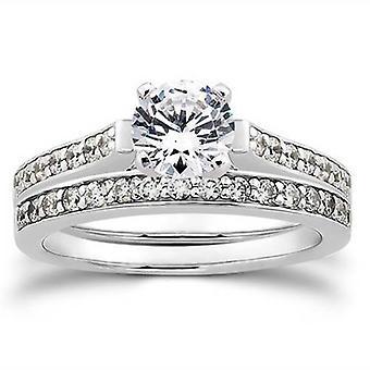 1 / 2ct diamante compromiso juego boda 14K anillo conjunto