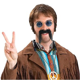 Fu-man-Chu Chinese Emperor 1970s Hippie Human Hair Men Costume Grey Moustache