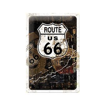 Ruta 66 oxidado cartel acero relieve desgastadas (300 Mm X 200 Mm)