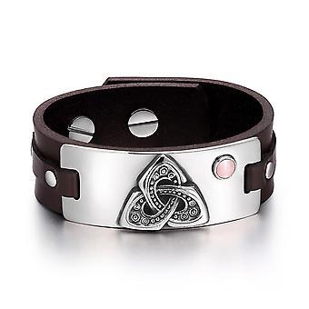 Celtic Triquetra knude magiske kræfter Amulet Pink simulerede katte øje justerbar brun læder armbånd