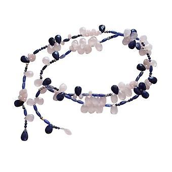 Lapis lazuli necklace and Rose Quartz necklace Collier sunshine silver