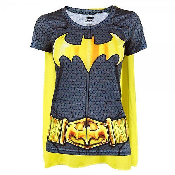 Batman Batman Womens Superhero Costume T Shirt avec Cape noire