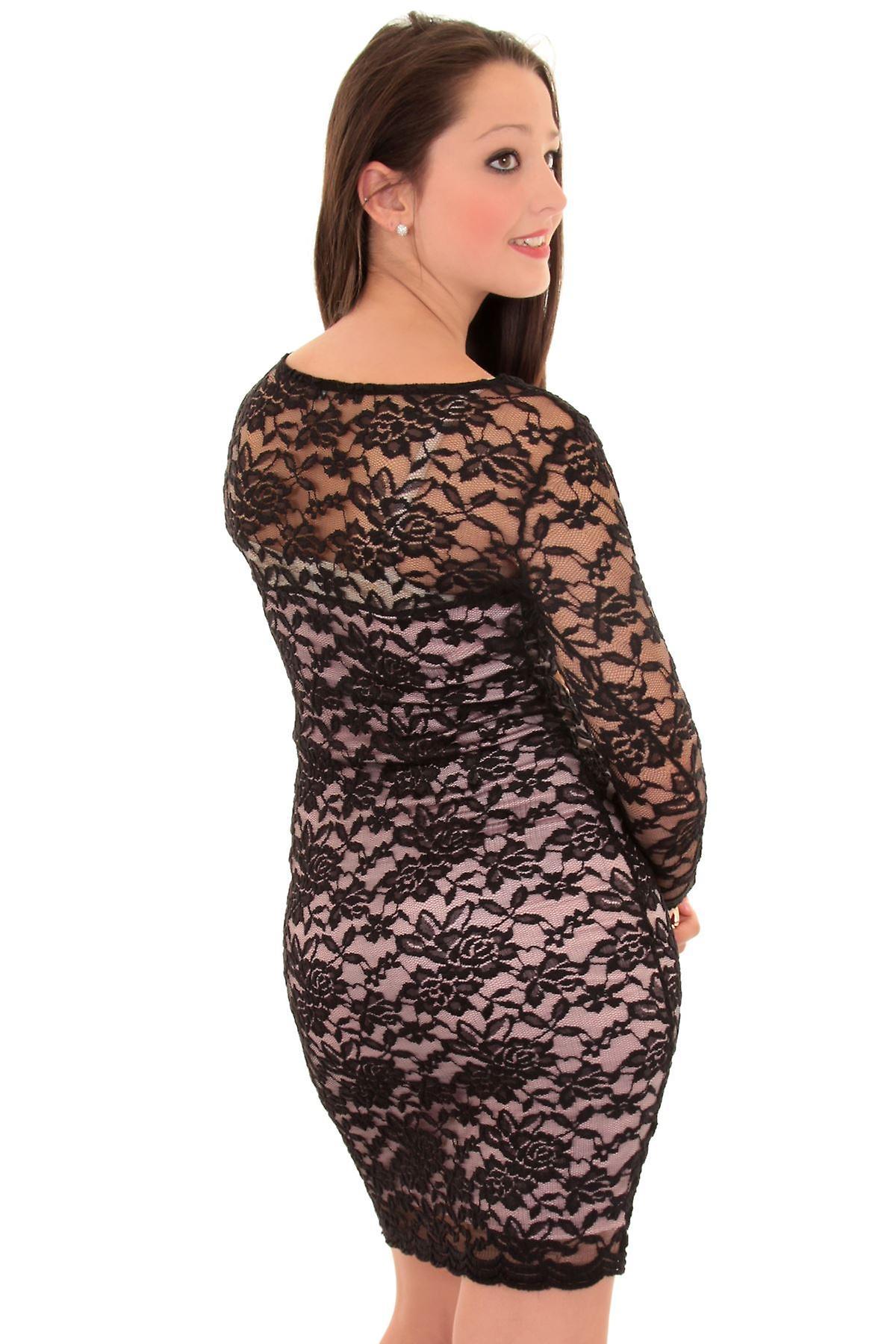 Uusi naisten 3/4 hihat vuorattu kukka pitsi naisten Bodycon mekko