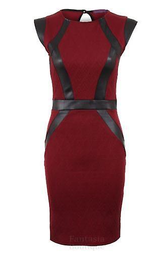 Hyvät tikattu kuvioitu PVC nauhat paneeli Slim venyttää Bodycon lyhyt naisten pukeutuminen