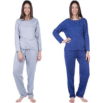 MASQ Womens manica lunga cotone Loungewear pigiameria Top e Bottom pigiama Set