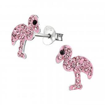 Girls pink flamingo crystal stud earrings