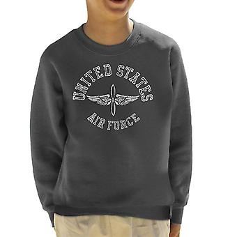 US Airforce Winged Propeller White Text Kid's Sweatshirt