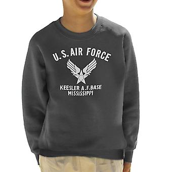 US Airforce Keesler AF Base Mississippi White Text Kid's Sweatshirt