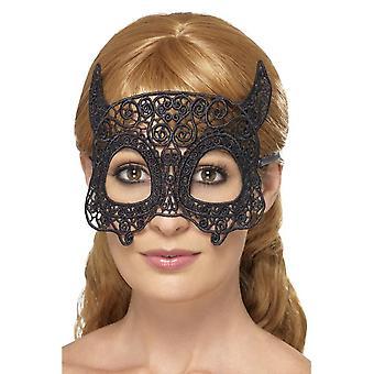 Embroidered Lace Filigree Devil Eyemask, BLACK