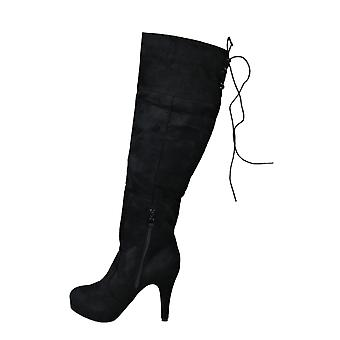 LMS Black Suede Platform Knee High Boot With Zip Detail