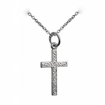 Silber 18x12mm geprägte lateinisches Kreuz mit einem Rolo Kette 24 Zoll