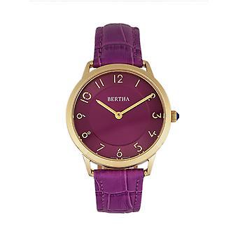 Bertha Abby Swiss Leather-Band Watch - Gold/Fuchsia