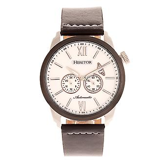 Heritor Automatic Wellington Leather-Band Watch - Black/White