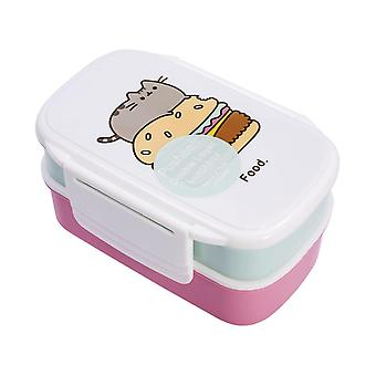 Pusheen lunchbox 2-piece set, white/blue/pink, printed, plastic.
