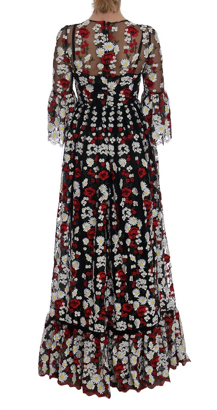 Black chamomile roses embroidered dress