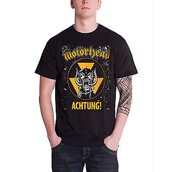 Motorhead T camisa Achtung Warpig Inglaterra banda logotipo mens preto oficial