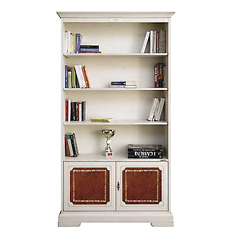 Bookcase with leather 2 doors 3 adjustable shelves