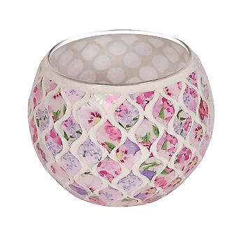 Straits Floral Globe Tealight Holder, Pink