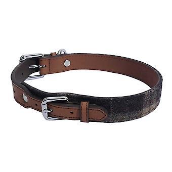Rosewood Luxury Leather Tweed Check Dog Collar