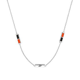 Anaheim Ducks Sterling Silver Engraved Triple Station In Necklace Black and Orange