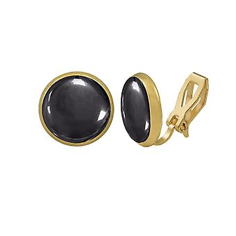 Eternal Collection Symphony Hematite Gold Stud Clip On Earrings