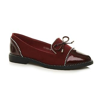 Ajvani Womens flad lav hæl smart casual slip på beaded hyttesko bue sko