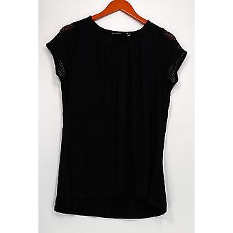H par Halston Women-apos;s Top Short Sleeve Lace Trim Hi-low Hem Black A288597