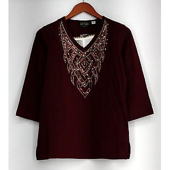 Bob Mackie Top XXS Embellished 3/4 Sleeves Pull Over Red A268379