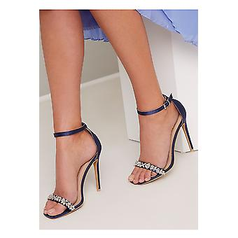 Navy Satin Strappy Embellished Sandals