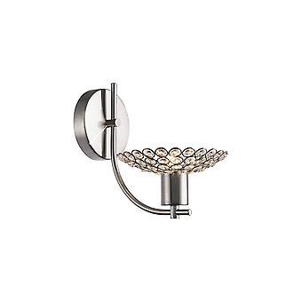 Diyas Ellen Wall Lamp 1 Light Satin Nickel/Crystal