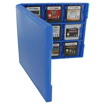 18 game card case for nintendo 3ds, 2ds & ds - 18 in 1 game cartridge folio style plastic storage case travel box - blue