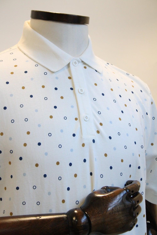 Merc London Dalmeny Off-White Dotty Polo Shirt